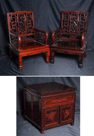紅木櫃、官帽椅一組