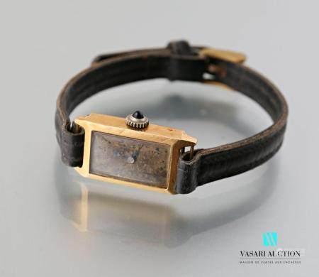Un boitier de montre de dame en or jaune 750 millièmes  des années 50Poids brut 10,3 g.