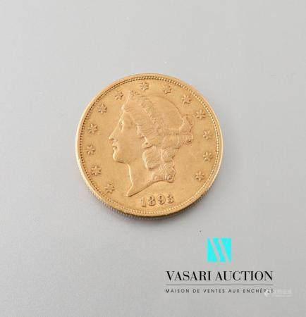 """Pièce de 20 dollars américains 1893 """" Liberty """", Atelier Philadelphie, tranche cannelée, diamèt"""