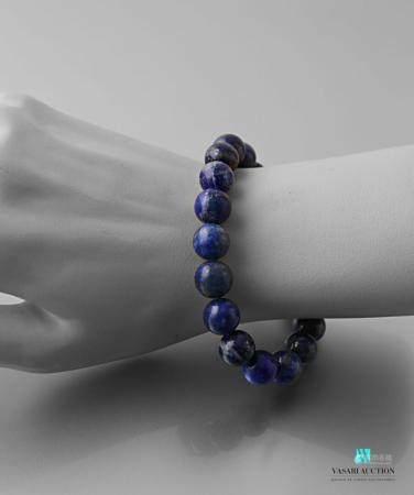 Bracelet sur cordon extensible en perles de lapis lazuli