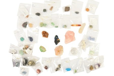 A collection of semi-precious gems and crystals