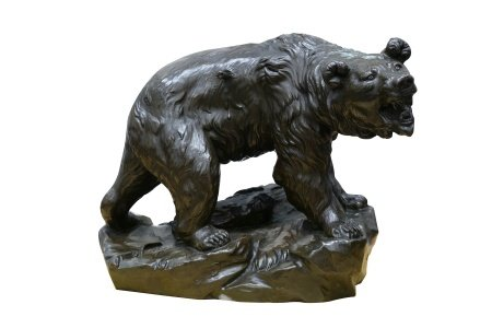 Large 'Wounded Bear' Bronzed Figure