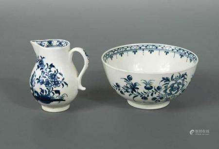 A Lowestoft blue and white sparrow beak cream jug,