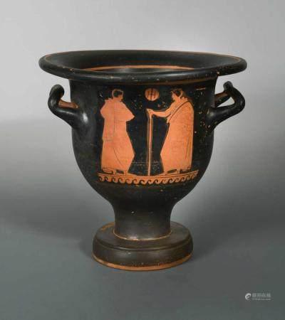 A Greek red figure two-handled krater (wine vessel), Apulian