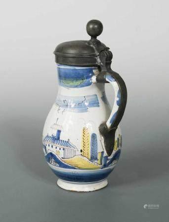 A 17th Century Birnkrug pewter lidded tankard,