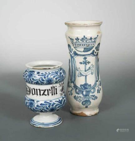 An Italian blue and white wet drug jar,