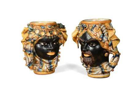 A pair of Beznik Harizi pottery vases,