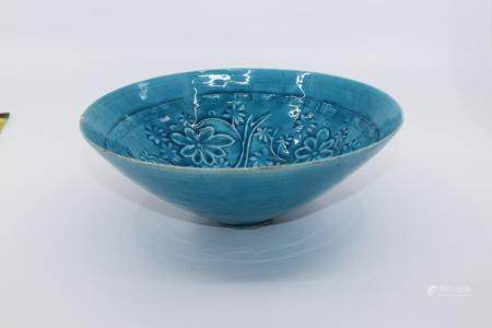 CHINESE IMPERIAL TURQUOISE GLAZED BOWL, FINELY THIN PORCELAI