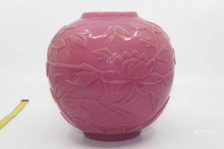 LARGE ROSE PINK PEKING GLASS VASE/GINGER JAR, CARVED WITH BU