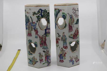 PAIR OF 19TH CENT CANTONESE FAMILLE ROSE HEXAGONAL SHAPED HA