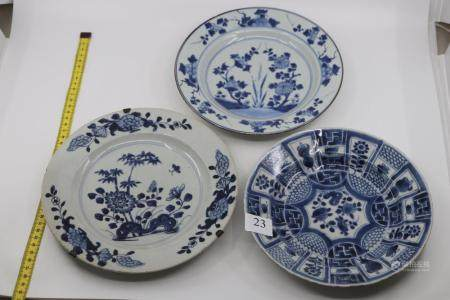 3 X CHINESE BLUE AND WHITE FLORAL PATTERN, TIN GLAZED PLATES