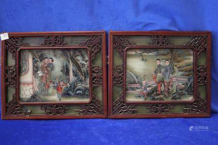 PAIR OF 19TH CENTURY CHINESE PAINTING ON GLASS, WITH CARVED