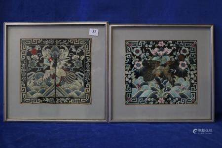 2 FRAMED CHINESE MANDARIN IMPERIAL RANK BADGES, HAND EMBROID