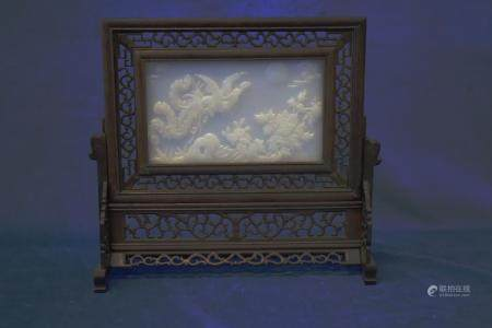 19TH CENTURY CHINESE TABLE SCREEN ON STAND, WHITE PRESSED GL