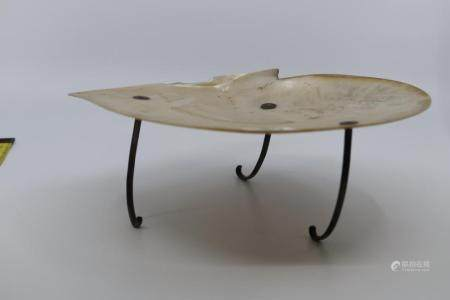 MOTHER OF PEARL SHELL COMPORT ON SILVER THREE LEGGED STAND
