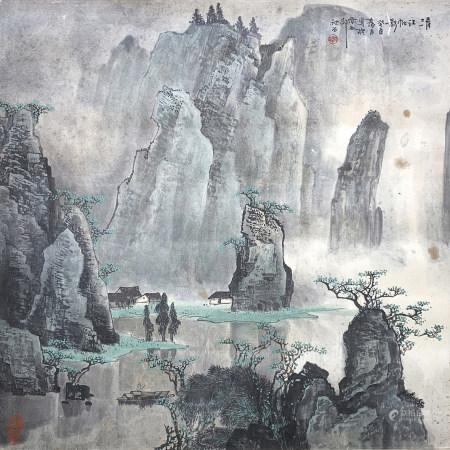 李秋石清江帆影