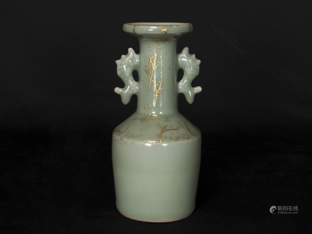 金代-龍泉窯金繕盤口瓶