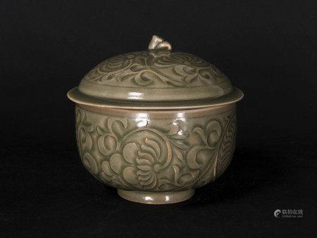 宋代-耀州窯蓋罐