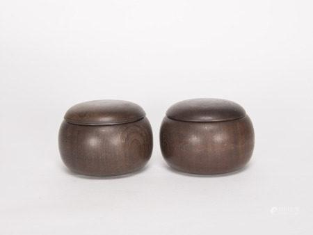 清代-紅木棋罐兩件