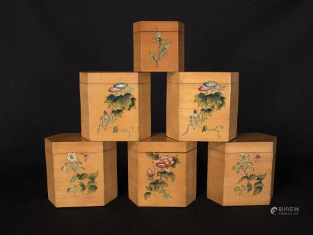 文革時期-貼簧茶葉罐六件