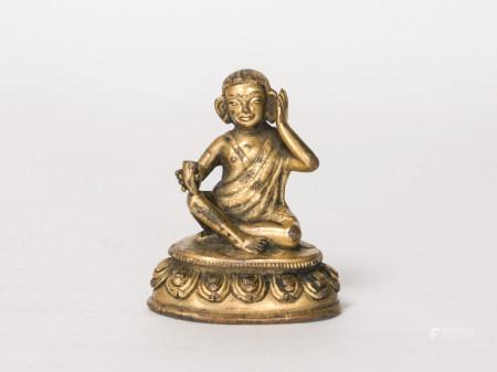 西藏鎏金米拉日巴尊者