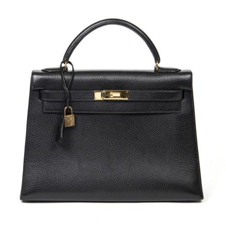 HERMÈS | BLACK ARDENNES KELLY SELLIER 32 WITH GOLD HARDWARE