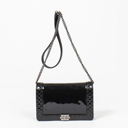 CHANEL | BLACK PATENT QUILTED LEATHER BOY REVERSO WALLET ON CHAIN WITH BRUSHED PALLADIUM HARDWARE