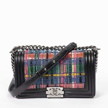 CHANEL | BLACK AND MULTICOLOR WOVEN AND QUILTED CANVAS LTD. EDITION BOY MM WITH RUTHENIUM HARDWARE