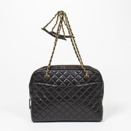 CHANEL | BLACK QUILTED LEATHER CHAIN SHOULDER POCKET TOTE WITH GOLD HARDWARE