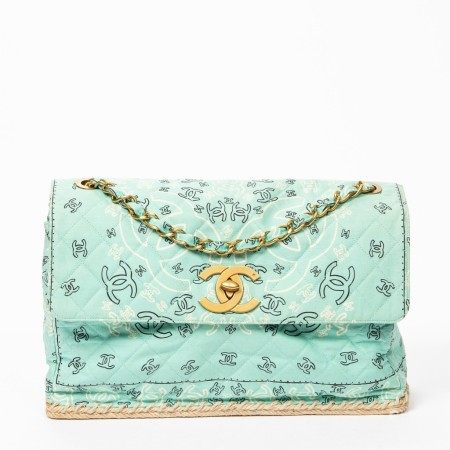 CHANEL | LIGHT GREEN RARE LIMITED EDITION CC PRINTED QUILTED CANVAS CHAIN SHOULDER BAG WITH GOLD HARDWARE