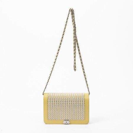 CHANEL | YELLOW AND IVORY STITCHED LEATHER WITH BEADS BOY WALLET ON CHAIN WITH PALLADIUM HARDWARE