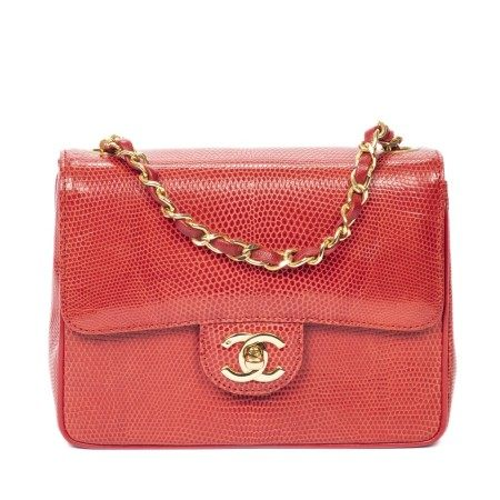 CHANEL | RARE RED LIZARD MINI SINGLE FLAP 18 WITH GOLD HARDWARE