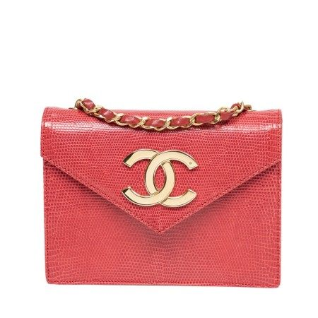 CHANEL | RARE RED LIZARD V FLAP LOGO BAG  WITH GOLD HARDWARE