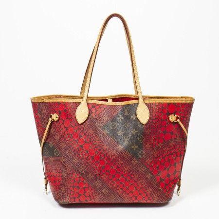 LOUIS VUITTON | BROWN AND RED LIMITED EDITION KUSAMA MONOGRAM CANVAS NEVERFULL MM WITH GOLDEN BRASS HARDWARE