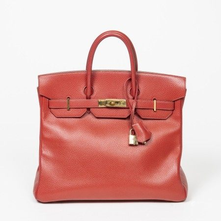 HERMÈS | ROUGE H ARDENNES HAUT A COURROIES 32 WITH GOLD HARDWARE
