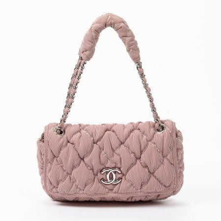 CHANEL | RED AND WHITE LARGE QUILTED CANVAS SINGLE FLAP  WITH PALLADIUM