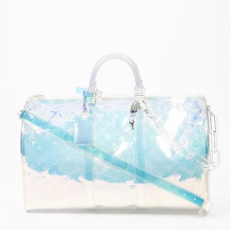 LOUIS VUITTON | IRIDESCENT MONOGRAM PRISM KEEPALL BANDOULIERE 50 WITH WHITE LUCITE HARDWARE