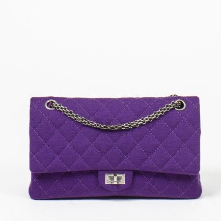 CHANEL | PURPLE QUILTED JERSEY CANVAS 2.55 REISSUE 26 DOUBLE FLAP BAG WITH GUNMETAL HARDWARE
