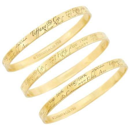 Tiffany & Co. Three Gold 'Notes' Bangle Bracelets