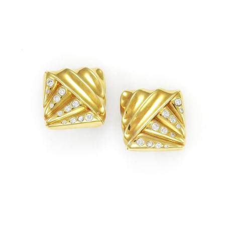 Cartier Pair of Gold and Diamond Earclips