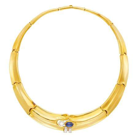 Gold, Diamond and Cabochon Sapphire Necklace