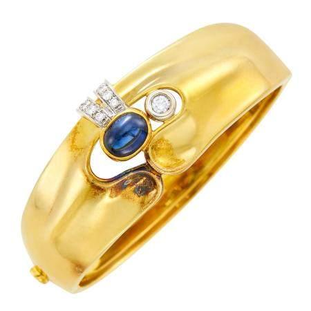 Gold, Diamond and Cabochon Sapphire Bangle Bracelet