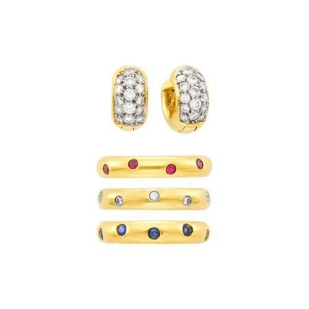 Tiffany & Co. Three Gold, Diamond, Ruby and Sapphire Etoilé