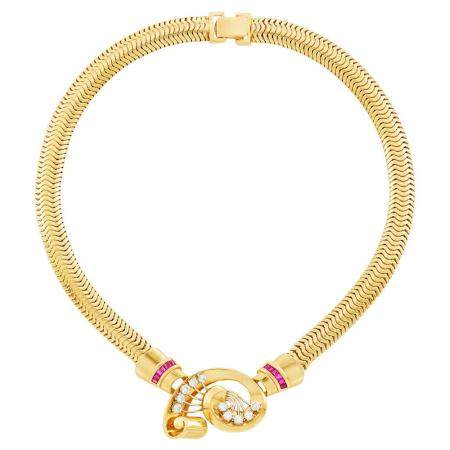 Gold, Diamond and Ruby Snake Link Necklace
