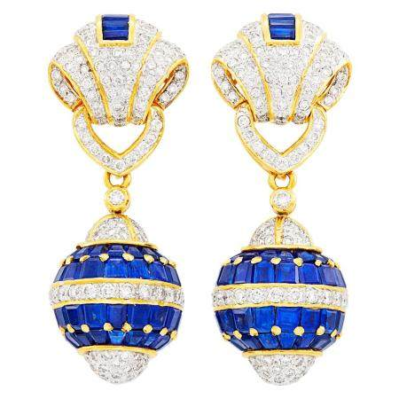 Pair of Gold, Sapphire and Diamond Pendant-Earclips
