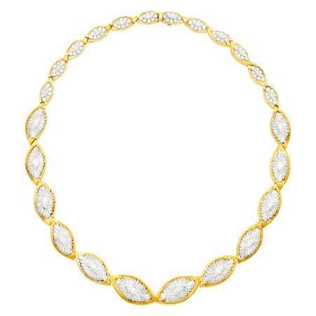 Gold, Platinum and Diamond Necklace