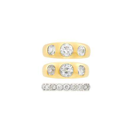 Two Gold and Diamond Gypsy Rings and Platinum, Gold and Diam