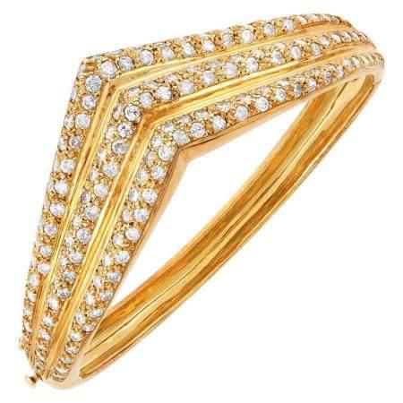Gold and Diamond Bangle Bracelet