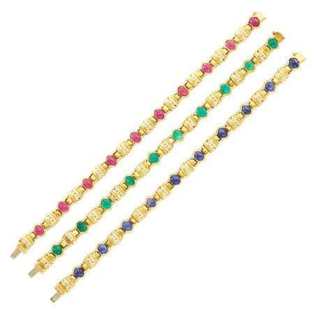 Chantecler Three Gold, Cabochon Gem-Set and Diamond Bracelet