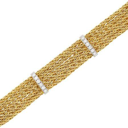 Five Strand Two-Color Gold and Diamond Bracelet